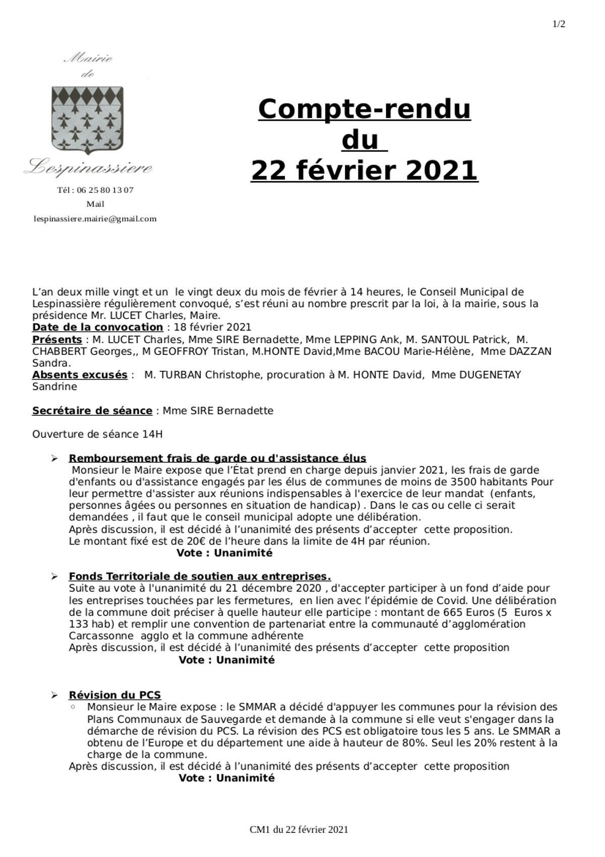 Compte rendu cm1 du 22 02 2021