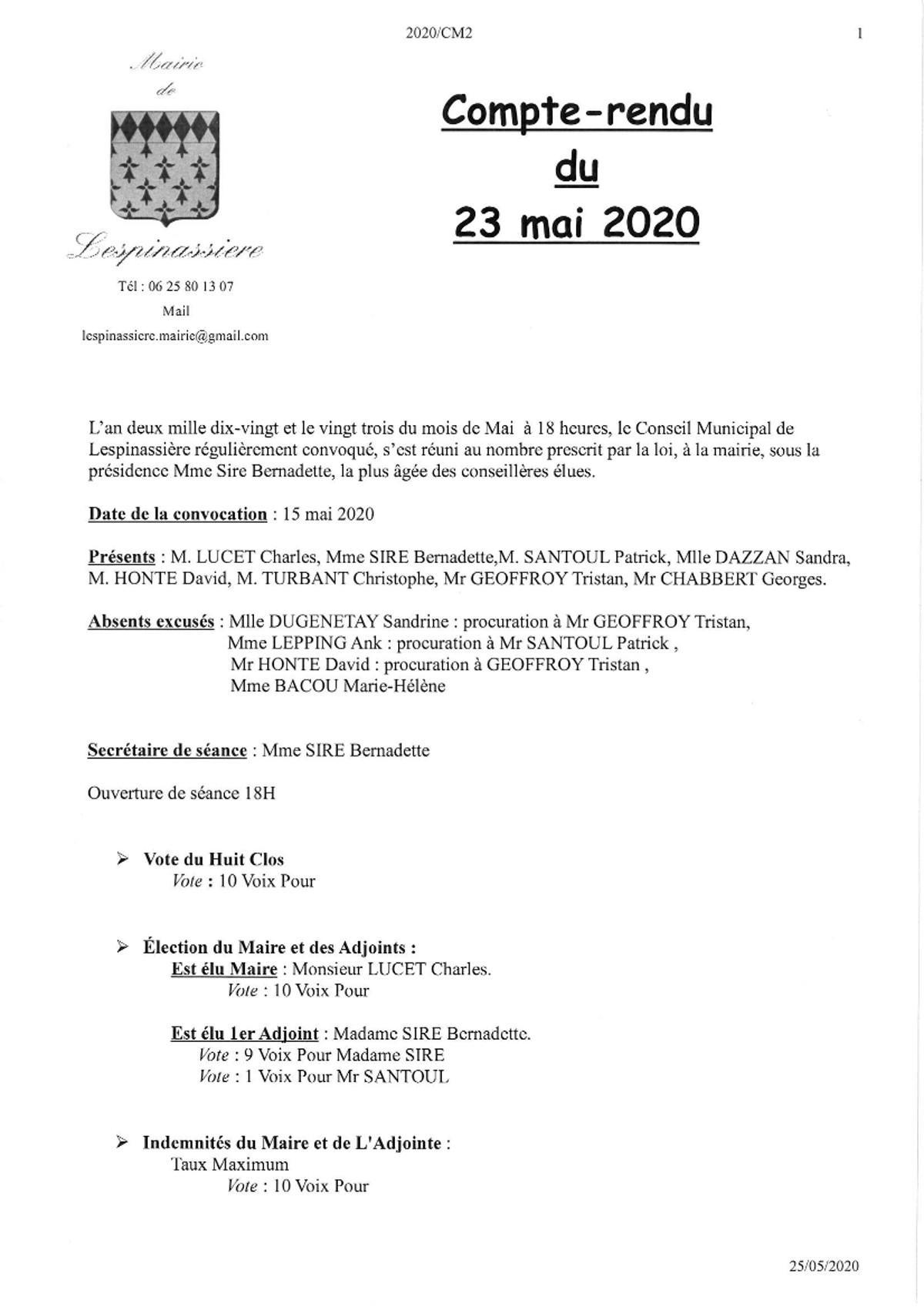 Compte rendu cm2 du 23 mai 2020